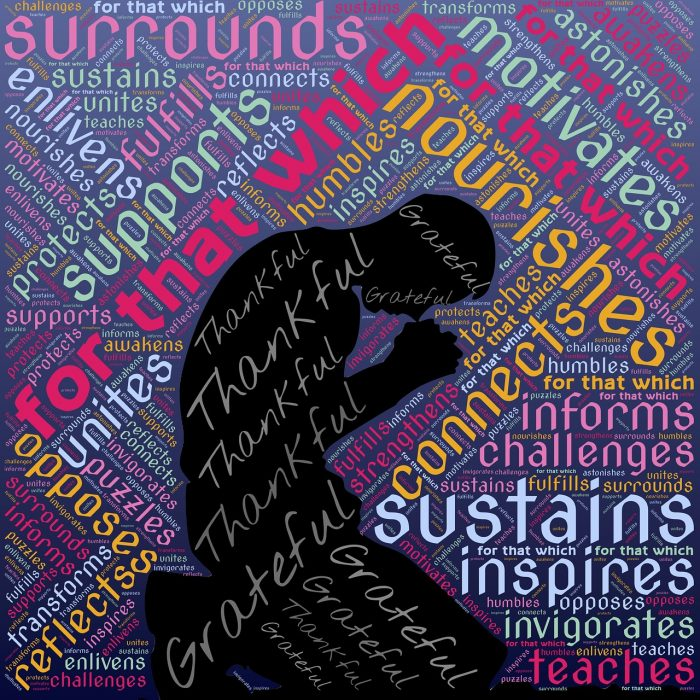 kneeling figure surrounded by words of gratitude