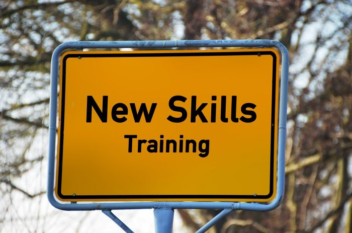 "yellow road sign saying ""new skills and training"""